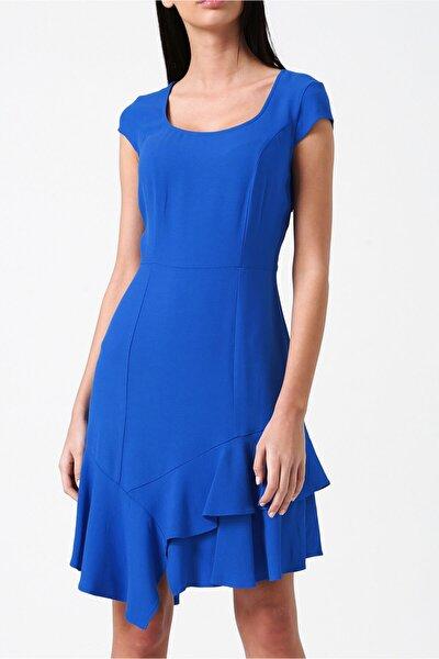 RANDOM Kadın Royal Eteği Asimetrik Küt Yakalı Mini Elbise