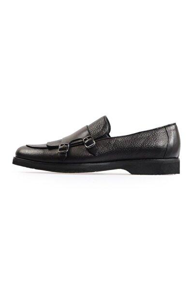 Flower Siyah Çift Tokalı Erkek Ayakkabı