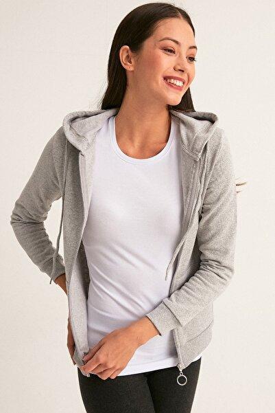 Fulla Moda Fermuarlı Kapüşonlu Sweatshirt