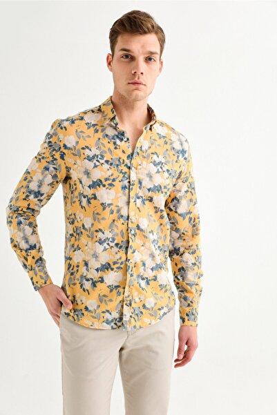 Avva Erkek Sarı Baskılı Alttan Britli Yaka Slim Fit Gömlek A01y2117