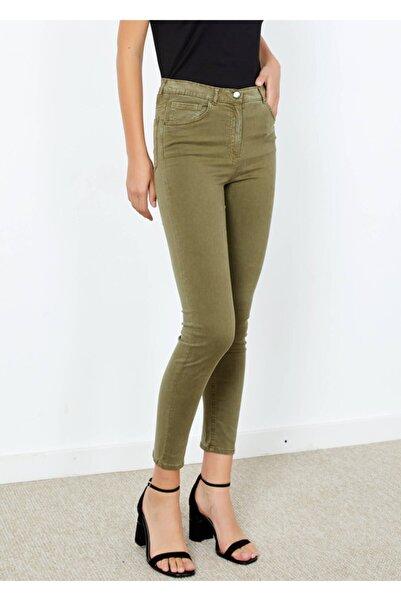 Adze Kadın Haki Dar Paça Slim Fit Pantolon Khaki 38