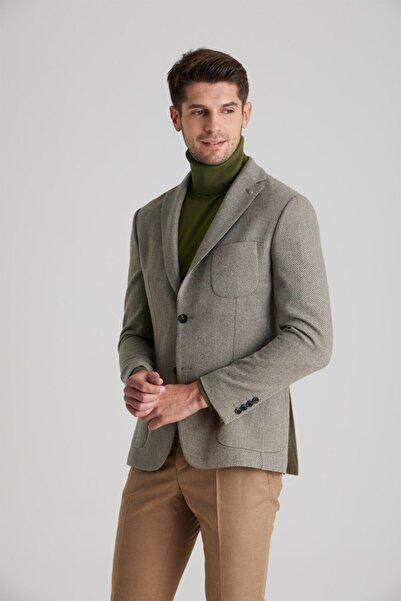 Dufy Haki Yün Karışımlı Kuşgözü Erkek Ceket - Slım Fıt