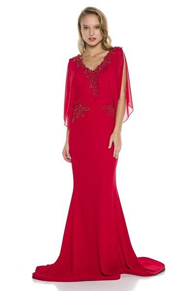 Abiye Sarayı Kırmızı Kol Detaylı Bel Ve Yaka Işlemeli V Yaka Balık Abiye Elbise