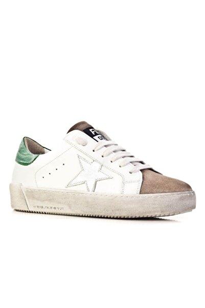 Cabani Flrs 055-fı Lux Özel Tasarım Yıldız Motifli Günlük Kadın Ayakkabı Beyaz Napa Deri