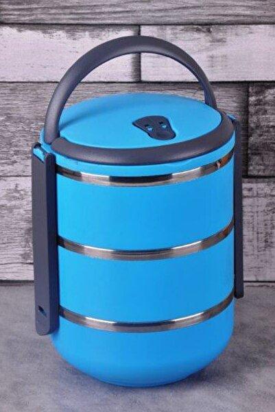 Margin 3 Katlı Sızdırmaz Yemek Termosu Sefer Tası Saklama Kabı Mavi 2,25 Litre Mavi