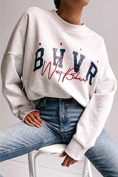 Madmext Mad Girls Gri Nakışlı Sweatshirt Mg813