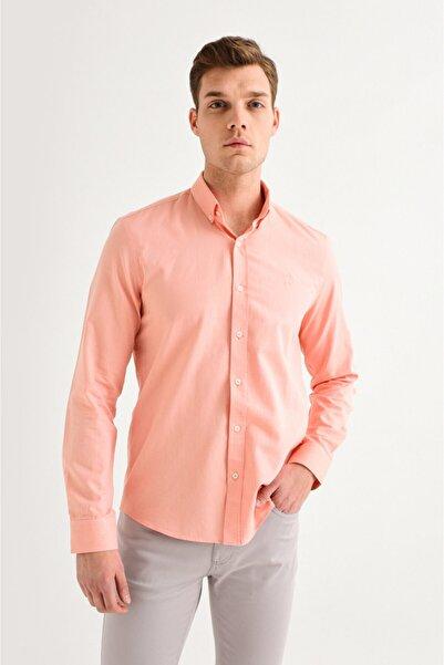 Avva Erkek Turuncu Oxford Klasik Yaka Slim Fit Gömlek A01s2272