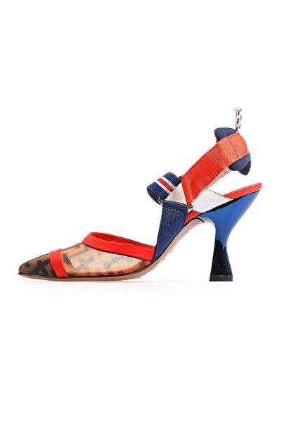 Flower Lacivert File Detaylı Topuklu Ayakkabı
