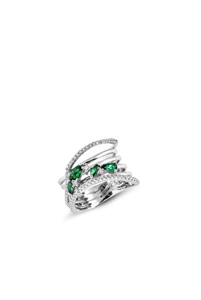 Yeşil Zirkon Taşlı Kadın Gümüş Yüzük