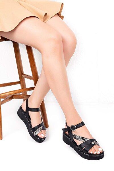 Gondol Hakiki Deri Anatomik Taban Sandalet - Ws1070- - Siyah - 37