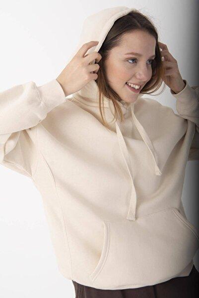 Addax Kadın Taş Kapüşonlu Sweatshirt S0519 - P10 - V2 ADX-0000014040