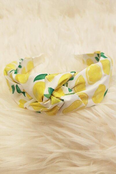 BAHELS Kadın Limon Desen Detaylı Yaz Koleksiyon Düğümlü Lüx Model Taç Saç Bandı