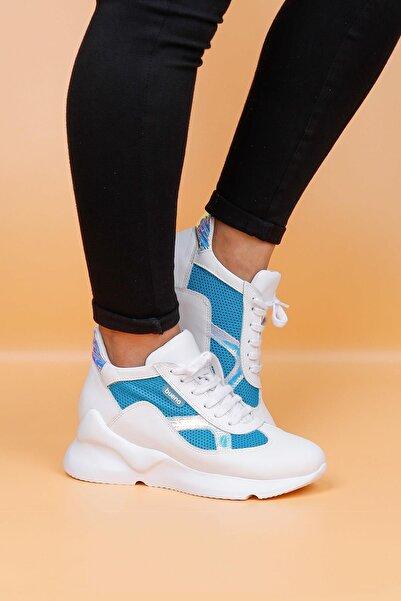 BUENO Shoes Hakiki Deri File Detaylı Bağcıklı Kadın Spor Ayakkabı 20wq1807