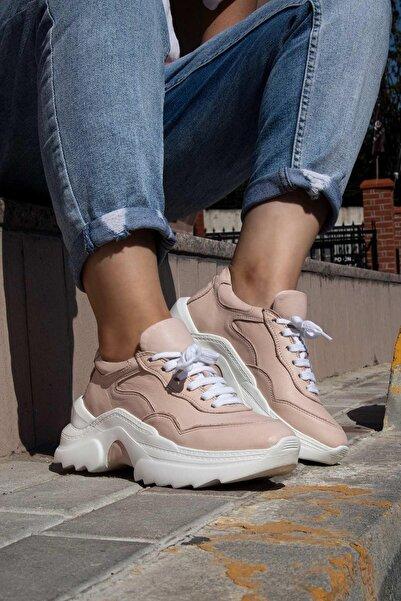 BUENO Shoes Hakiki Deri Yüksek Tabanlı Bağcık Detaylı Kadın Spor Ayakkabı 20wq10102