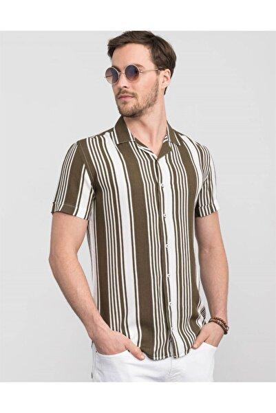 Tudors Slim Fitçizgili Kısa Kol Spor Gömlek