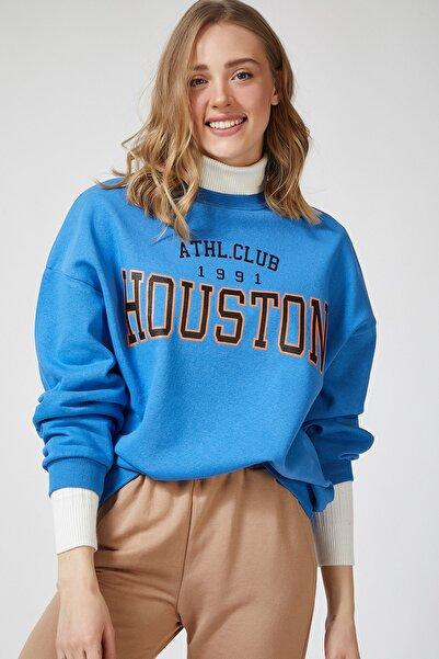 Happiness İst. Kadın Mavi Baskılı Polarlı Sweatshirt HF00169