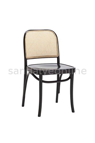 Sandalye Online Lina Ahşap Hazeranlı Sandalye Siyah