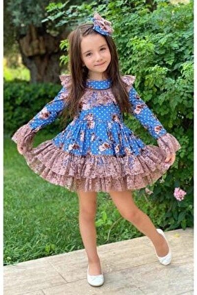 Kız Çocuk Çiçek Dantelli Puanlı Mavi Elbise