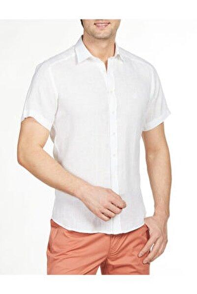 Regular Fit Kısa Kollu Keten Gömlek