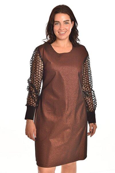 Ultimod Altın Tül Detaylı Büyük Beden Elbise Ult3527