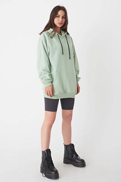Addax Kadın Mint Kapüşonlu Oversize Sweat S0925 - N4 - P3 ADX-0000022256