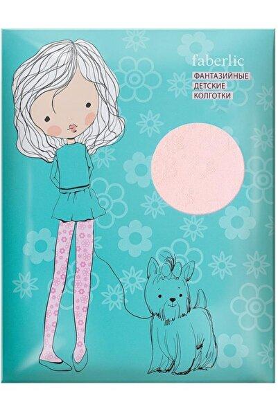 Faberlic Beyaz 9-10 Yaş Çocuk Külotlu Çorap Çiçek Desenli