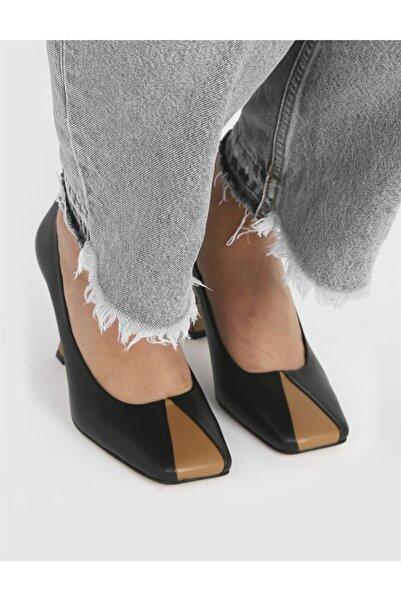 İLVİ Yetra Hakiki Deri Kadın Siyah Topuklu Ayakkabı