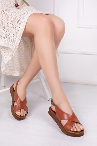 Deripabuc Hakiki Deri Taba Kadın Deri Sandalet Dp-1069