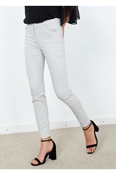 Adze Kadın Gri Slim Fit Likralı Pantalon Gri 38