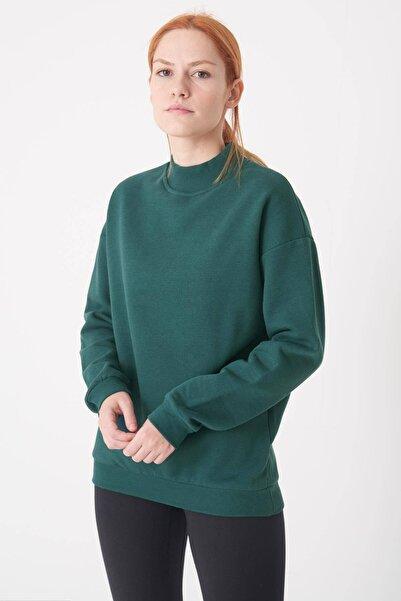 Addax Kadın Koyu Yeşil Yarım Balıkçı Yaka Sweat S8606 - I4 - I5 ADX-0000019754