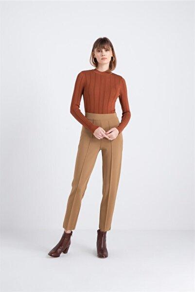 rue. Yüksek Bel Triko Pantolon Camel Renk