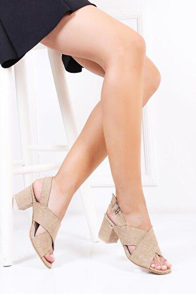 Deripabuc Hakiki Deri Hasır Deri Kadın Topuklu Hasır Sandalet Dp30-7066