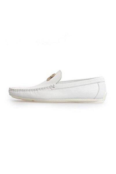 Beyaz Deri Toka Detaylı Loafer Ayakkabı