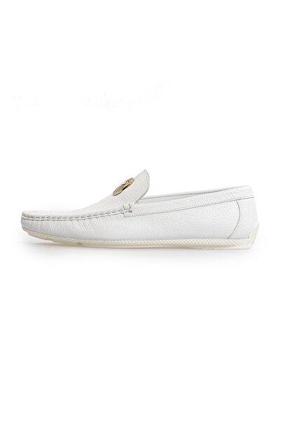 Flower Beyaz Deri Toka Detaylı Loafer Ayakkabı