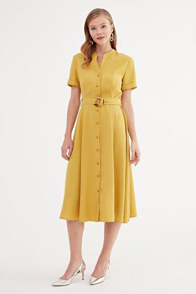 Journey Elbise-dik Yaka, Ön Tüm Düğme, Bel Kuşağı Toka Detaylı, Kısa Kol