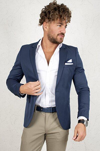 DeepSEA Derin Mavi Erkek Yeni Sezon Slim Fit Tek Düğmeli Poliviscon Blazer Ceket 2002222