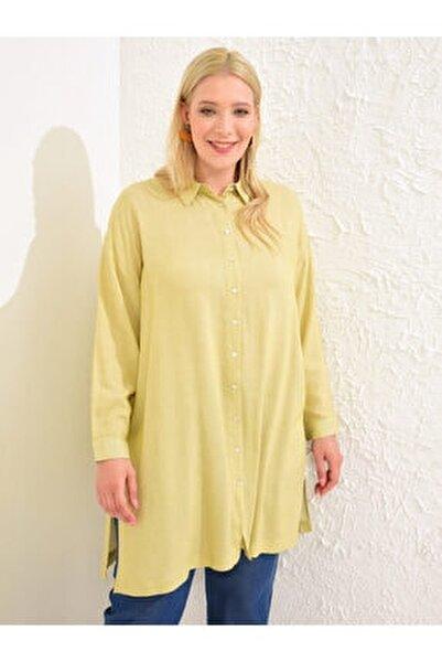 Kadın Sarı Çizgili  Tunik