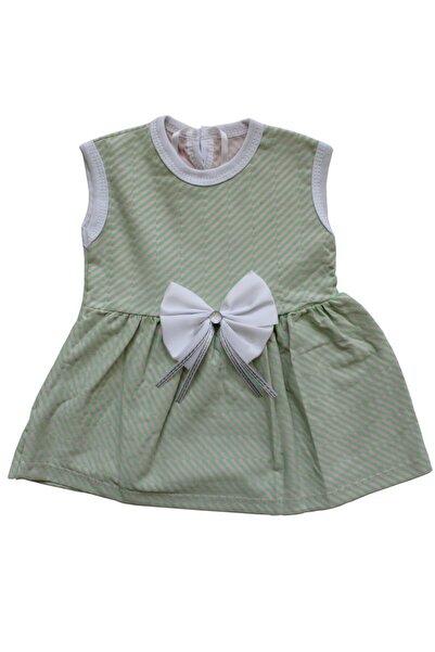 bebegen Yeşil Çizgili Beyaz Kurdelalı Kız Bebek Elbise