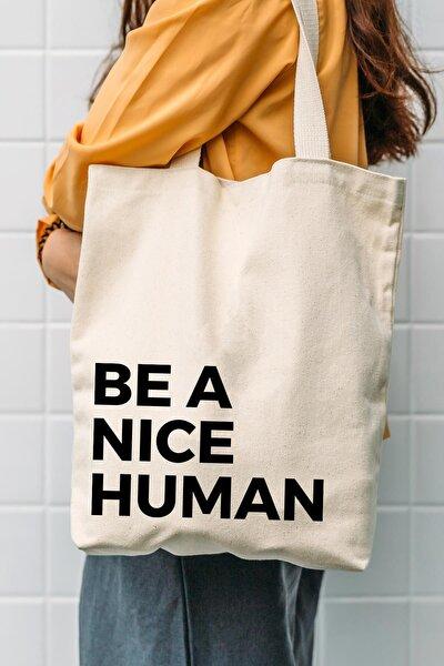 Çınar Bez Çanta Kanvas Be A Nice Human Bez Çanta C0502
