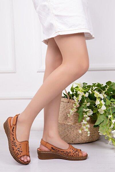 Deripabuc Hakiki Deri Taba Kadın Deri Sandalet DP16-0602