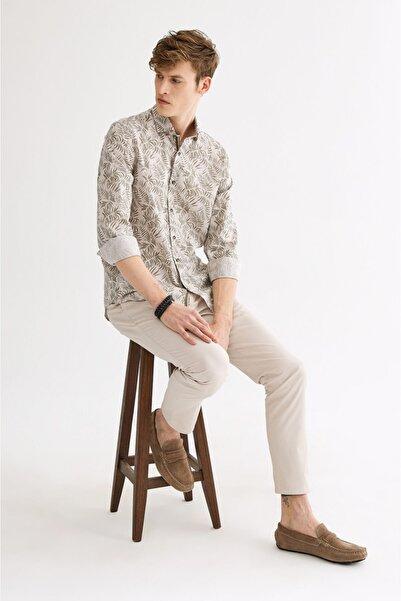 Avva Erkek Haki Baskılı Alttan Britli Yaka Slim Fit Gömlek A01y2052