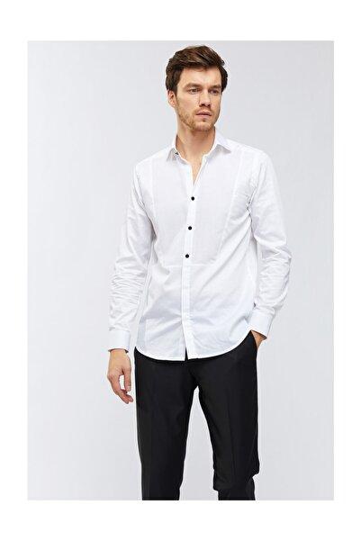 Avva Erkek Beyaz Düz Klasik Yaka Slim Fit Smokin Gömlek A91y2113