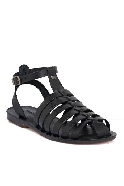Tergan Siyah Deri Kadın Sandalet N64987a57