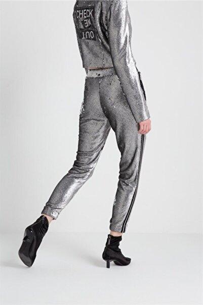 rue. Yanı Biye Detaylı Pul Payet Pantolon Gri Renk