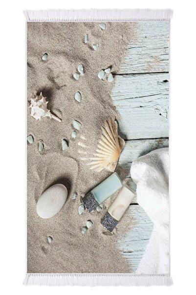 EXCLUSIVE Saray Dijital Halı Saçaklı Tina Deniz Kum