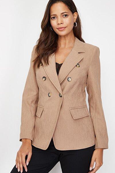 Lafaba Kadın Vizon Önü Ve Kolu Süs Düğmeli Ceket