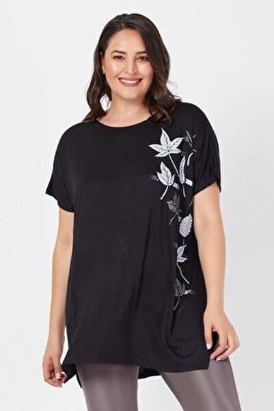 Büyük Beden Siyah Salaş Sarmaşık Yaprak Baskılı T-shirt