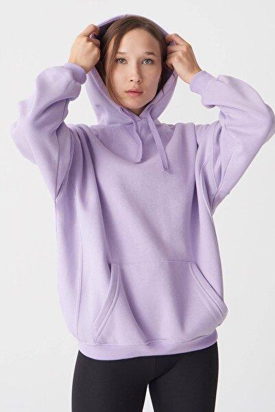 Addax Kadın Lila Kapüşonlu Sweatshirt S0519 - P10 - V2 ADX-0000014040