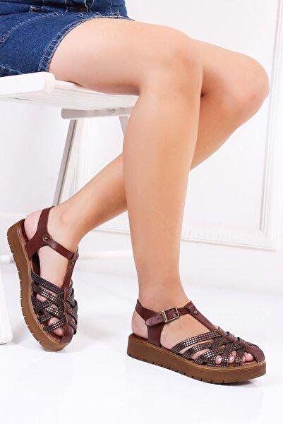 Deripabuc Hakiki Deri Kahve X6 Kadın Deri Sandalet DP-0097