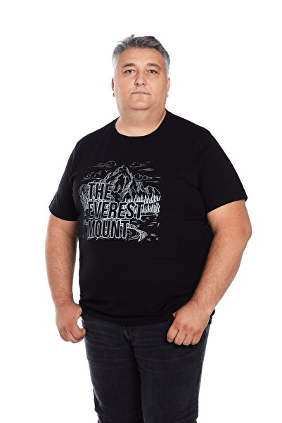 The Everest Mount Büyük Beden Erkek Siyah Bisiklet Yaka Outdoor Baskılı Everest T-shirt